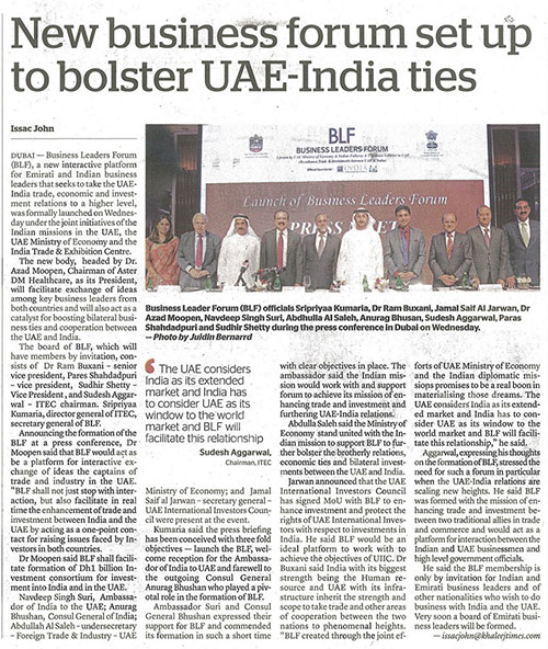 New business forum set up to bolster UAE-India ties