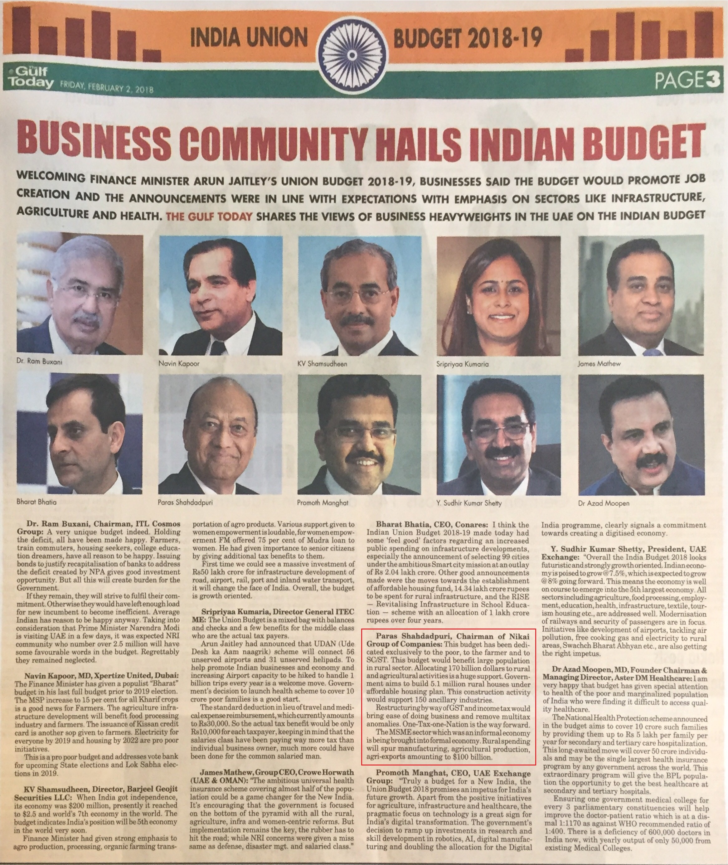 Business community hails indian Budget